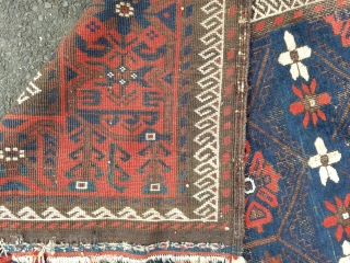 Baluch - about 4.5 x 7.7 as found with old spotty repair to selvage, oxidation.  Beautiful color.