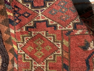 Ersari main carpet - about 7' x 8' and totally blitzed.  Lots of purple/pink silk highlights in border and some in field.  Wonderful apple green and yellow.  Make a  ...