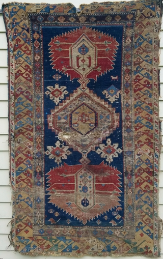 "karagashli - about 5'3"" x 3'2"".  distressed but beautifully executed, nice weave, color and floppy handle."