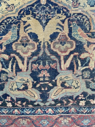 Early lavar Kirman - about 8.5 x 11.4 finely woven with mythical creatures, horned animals, birds, and fowl.  In as found condition with overall wear, scattered holes, etc.