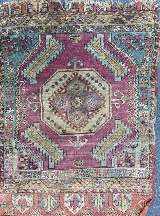 "Anatolian yastik - about 23"" x 32"". As found, original. Benefit from wash."