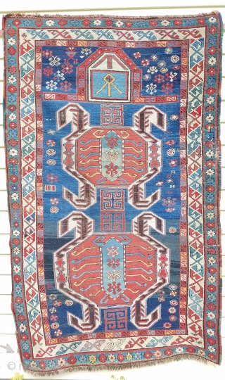 "Lenkoran prayer rug - about 3'6"" x 5'8"".  Natural and synthetic dyes, slight bleed of one red, and oxidized black. Some old repair including patch/reweave on right side border about 2""  ..."