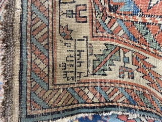 """About 4'1"""" x 6'9"""". Beautiful but blitzed. Needs rug rescue! Holes, old reweave/patch?"""