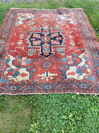 About 5.2 x 5.9. Has wear. Wonderful color saturation. Great size. It'll be at Brimfield auction acres Tuesday sept 7th and Friday sept 9th If you want to inspect in person providing  ...