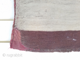 """Yomud chuval - about 30"""" x 52"""".  Complete bag with backing stitched to pile.  backing has old repaired corner."""