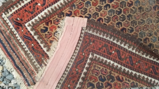 "Baluch prayer rug - about 30"" x 47"" including kilim bands at both ends.  As found condition with some oxidation and wear."