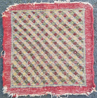 """Pushti- about 17"""" x 17"""". Interesting grid pattern with outer plain band. Wonderful color and mostly good pile.  Ends/side unravelling slightly.  $185/bo + ship"""