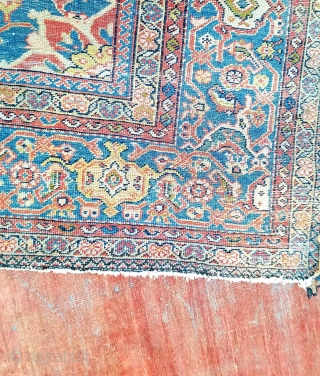 Mahal - about 9 x 11.9. as found.  all original.  Wear throughout, glue residue on back   of ends, desperate need of bath, supple handle.
