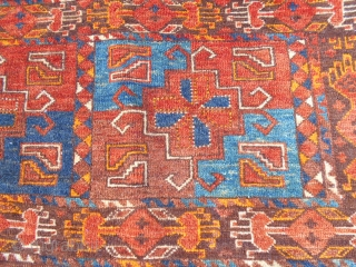 Ersari chuval Unusual design for the main field motif. Nice colors. Very good pile. Overall condition very good 54X19inch