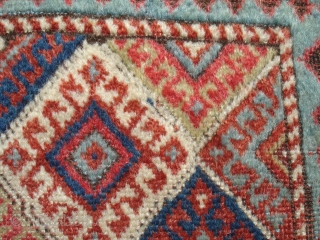 1' 8'' x 2' 2'' - Very Old, Handsome, Unusual, Colorful Caucasian Bag Face.  All good colors.