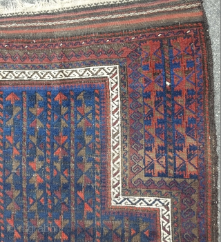 "fine Baluch prayer 3'5"" x  4'7"" no repairs, good colors 19th century"