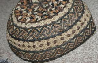 Excellent Antique Turkmen Hat, beautiful stitches and colours. Good condition.