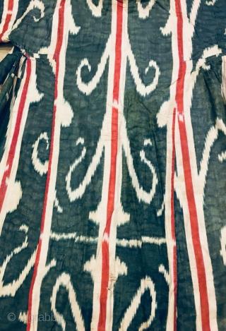 Antique 19th century Uzbek Adras (silk wrap cotton weft) Ikat Chapan. Beautiful natural colours. Good condition.