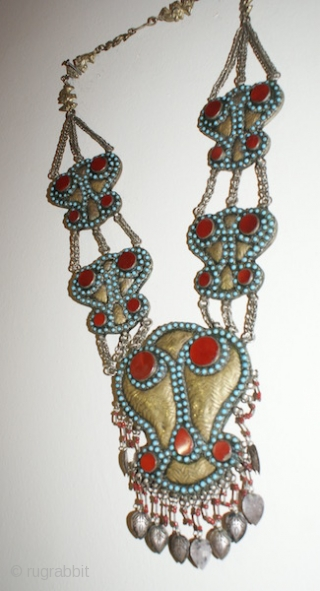 19th century Central Asian Turkmen jewellery Silver and Gold plated necklace. Beautiful Cornelian with Turquoise. Good condition. Offer reasonable price.