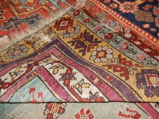 FINE OLD TURKISH RUG - LARGE 4 X 5 FOOT SIZE - ALL WOOL CONSTRUCTION- GOOD PILE WITH END AND SIDE DAMAGE AS SHOWN - PRICE REFLECTS CONDITION