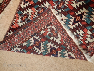 I HAVE ONE OF THESE LEFT -THE BETTER ONE - NICE OLD YOMUD YOMUT-  LATER FABRIC ACROSS THE TOP  -REASONABLE PRICED FOR SUCH A COLORFUL AND OLDER ITEM -