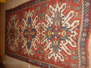 LARGE....- 5 x 8 1/2 ft - 165 x 250 cm - EAGLE KAZAK WITH ANIMALS AND GREEN AND YELLOW DYES   BEST QUALITY DESIGN - GOOD SOLID FOUNDATION - NEEDS GOOD WASH  ...