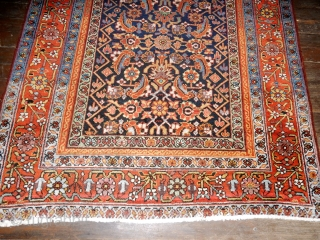 ANTIQUE GALLERY CARPET IN EXCELLENT CONDITION WITH FULL PILE   FINE WIDE BORDER, EXCELLENT DYES, LARGE  56 X 126 INCH SIZE