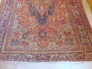 FEREHAN-FARAHAN-FEREGHAN CARPET.NEEDING SOME WORK , BUT SOLID  8ft 4in X 11ft 4in  FT .  ENDS REDUCED BY ABOUT 2 INCHES AND 2 SMALL HOLES.  NICE EVEN  PILE. GOOD  FOUNDATION.   FINE CLASSIC DESIGN.  $1650$  ...