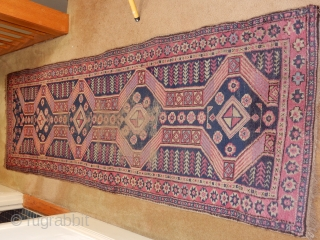 narrow old turkish runner .... 32 x 100 inches..... some wear but complete ends and sides $325