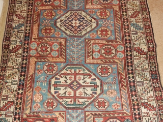 SHIRVAN WITH ALL NATURAL DYES-LOVELY SOFT BLUE FIELD AND MANY ANIMALS -SIZE OF  44 X 82 INCHES - AS FOUND WITH NO REPILING/REPAIRS -SLIGHT END LOSS= GOOD SIDES 