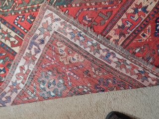 LARGE 4 X 9 FT. KAZAK/GENGE WITH DECENT PILE FOR USE ON THE FLOOR AT A MODEST COST -  HAS 2 SMALL WELL DONE PATCHES 