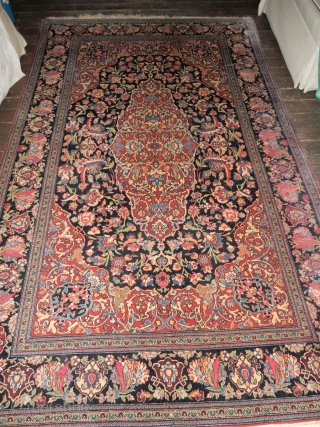 ANTIQUE KUBA BIRD RUG - DATED 1891- 37 X 115 INCHES - RARELY FOUND DESIGN - SOME CONDITION ISSUES BUT NOTHING MAJOR -  - LOOK FOR ONE KASHAN PHOTO ALSO -  ...