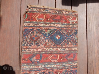 SOUMAK SULAKH PANEL- 15 X 30 INCHES - ORANGE DYE PROBABLY NATURAL BUT MAYBE NOT- EXCELLENT GREEN -$350 OR BO