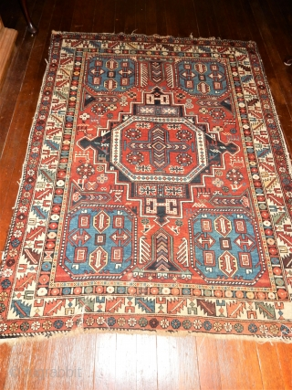 CLASSIC EASTERN CAUCASIAN RUG WITH EXCELLENT PILE WITH NO WORN AREAS - SOME MESSY ENDS AND SIDES BUT 98% COMPLETE -TWO ,3 INCH TEARS ONE END AS SHOW -NO REPAIRS-NO REPILING- 4  ...