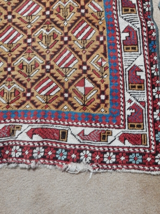 OPPORTUNITY FOR A COLLECTOR TO BUY A FINE GOLD FIELD MARASALI PRAYER RUG WITH GOOD PILE FOR A BARGAIN PRICE OF $1150 -