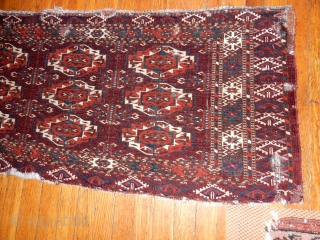 OLD TEKKE TORBA WITH FINE WEAVE AND SOME WEAR AND REPAIRED TEARS - NO REPILING