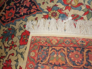 superb fereghan sarouk dozar full pile  look closely at the ends  and can you find the chicken and the butterfly?