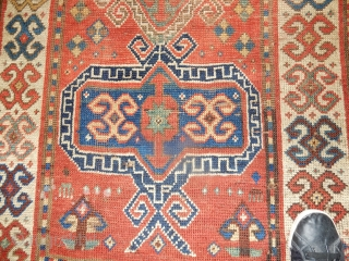 KAZAK PRAYER RUG - 3 X 6 FT- DECENT PILE AND CONDITION - ALL GOOD DYES -SIDES COVERED AS SHOWN - GOOD AGE -NICE GREEN AND BLUE DYES = A FEW SMALLISH  ...