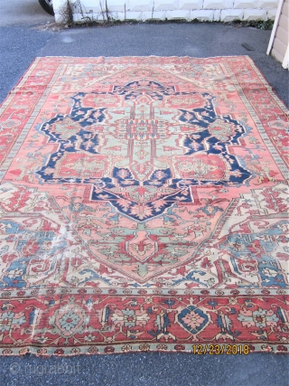 SERAPI WITH GOOD AGE AND SIZE - 9 X 12 FT.- GOOD FLEXIBLE  SOLID FOUNDATION - SOME WEAR  AND ONE 2 INCH HOLE ON ONE CORNER AS SHOWN - A BEAUTIFUL  ...