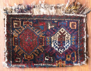 Vegetable dyed Afshar rug chanteh (bag). 14.17 x 10.62 inches  ( 36 cm x 27 cm )