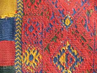 """Vegetable dyed Bidjar embroidered saddlebag. 2'2"""" x 4'11"""" feet  ( 67 cm x 151 cm )"""