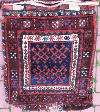 "Vegetable dyed Sanjab Kurdish Saddlebag. 2'1"" x 4'10"" feet ( 64 cm x 148 cm )"