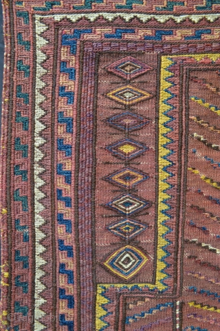 """Rare and interesting plain-weave and soumak prayer-rug made by Kordi tribes in the Quchan region of north-east Iran circa 1900. In excellent condition. 1.22m x 0.74m (4' 0"""" x 2' 5"""")."""