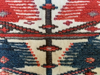 """Interesting 'ru asbi' (horse-cover) possibly Khamseh of Zanjan with metal thread woven in as seen in the close-up images 1.40 x 1.20m (4' 7"""" x 4' 0"""")."""