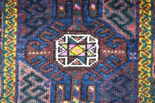 Interesting Timuri prayer-rug with highlights of silk and yellow cotton in the central stars. The yellow border is wool and there is a very nice use of natural green in the field  ...