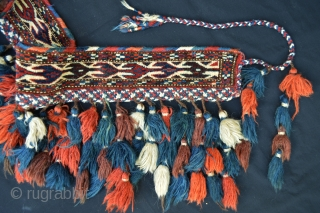 Yomut Turkmen wedding bridle - excellent condition with a nice brocaded band sewn on to the base to contain the tassels.