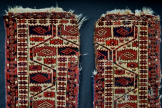A pair of vertical end panels from a Tekke Turkmen Kapanuk - middle missing! Has anyone out there got the central panel?!! Extremely fine weave and found last week in an old  ...