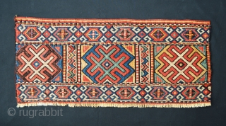 "Powerful Shahsevan of Karadag reverse soumack mafrash side panel in very good condition - 78cm x 33cm (2' 7"" x 1' 11"")."