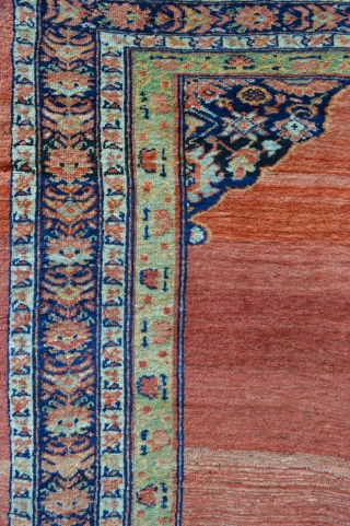 "19th century Sultanabad rug in good overall condition with a beautiful abrash of madder-red in the central field - 2.18m x 1.42m (7' 2"" x 4' 8"")."