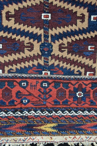 "Khorassan Baluch circa 1900 in full pile and knotted-pile skirts in chevron design 1.96m x 1.00m (6' 5"" x 3' 3""). Note the cockerels within the lozenges in the camel-hair field."