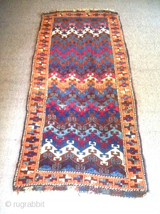 "19th century East Anatolian Rug in original condition, 72"" x 34: A classical stepped design format found exclusively in Eastern Anatolia; a complete example in very good pile, with good colors and  ..."