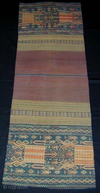 Timorese Woman's Tubular Ceremonial Skirt. Early 20th c. - rare heirloom textile. Handspun cotton - various supplementary warp techniques. 74 x 49 cms.