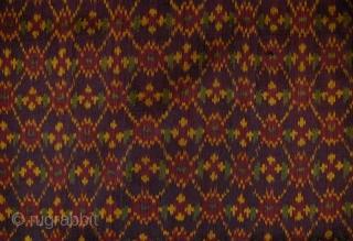 Cambodian Silk Ikat Sarong (Sampot Hol). Circa 1900. Tubular skirt measurements: 84 x 79 cms.