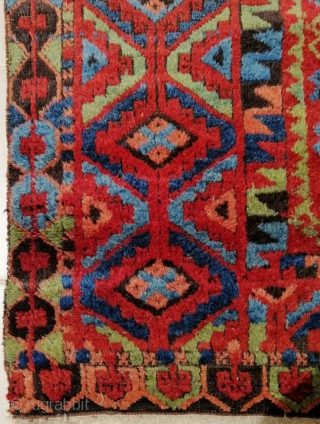 "Antique Sivas area divān cover , C. Anatolia. 97 x 238 cm. (3'3"" x 7'11""). Missing overcast and stabilized sides, high pile in general, oxidized brown, few small repiling, ends warp-spun rewoven,  ..."