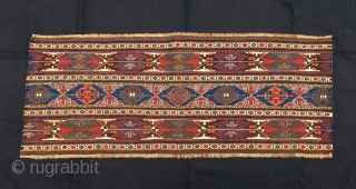 Eagle Shahsavan sumack mafrash long panel. Cm 45x105 ca. Late 19th c. Great Eagle pattern. Wonderful, saturated natural colors. In very good condition. No restorations, no reweaving, no penciling. Detailed weaving. ---